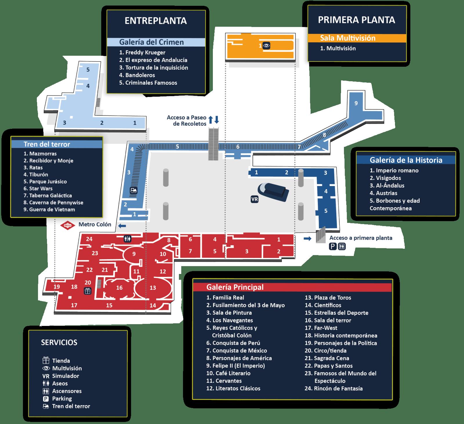 plano general del museo de cera de madrid