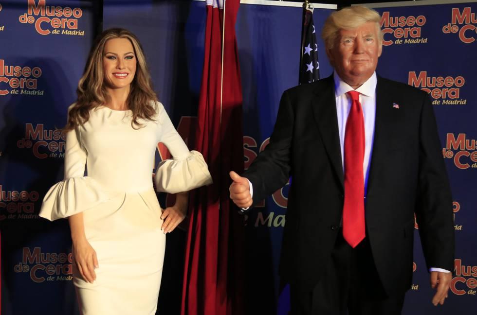 figuras de cera de donald y melania Trump